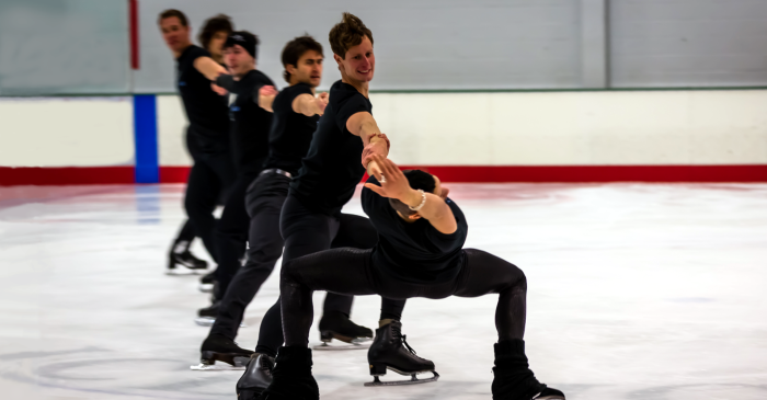 Men Skating performs Javelin, choreographed by Nathan Birch and Tim Murphy